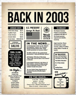 2003 The Year You Were Born vintage newspaper Style birthday party poster canvas gift for people born in 2003 Poster