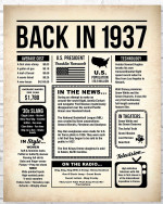 1937 The Year You Were Born vintage newspaper Style birthday party poster canvas gift for people born in 1937 Poster