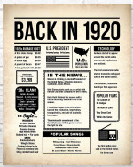 1920 The Year You Were Born vintage newspaper Style birthday party poster canvas gift for people born in 1920 Poster