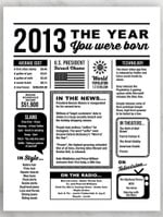 2013 The Year You Were Born Newspaper Style birthday party poster canvas gift for people born in 2013 Poster