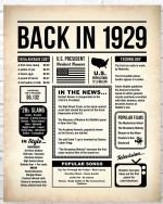 1929 The Year You Were Born vintage newspaper Style birthday party poster canvas gift for people born in 1929 Poster