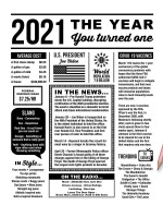 2021 The Year You Were Born Newspaper Style birthday party poster canvas gift for people born in 2021 Poster