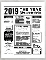 2019 The Year You Were Born Newspaper Style birthday party poster canvas gift for people born in 2019 Poster