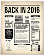 2016 The Year You Were Born vintage newspaper Style birthday party poster canvas gift for people born in 2016 Poster
