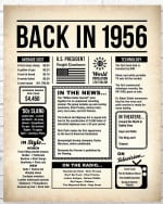 1956 The Year You Were Born vintage newspaper Style birthday party poster canvas gift for people born in 1956 Poster