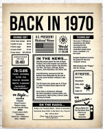 1970 The Year You Were Born vintage newspaper Style birthday party poster canvas gift for people born in 1970 Poster