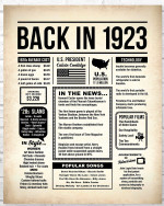 1923 The Year You Were Born vintage newspaper Style birthday party poster canvas gift for people born in 1923 Poster