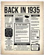1935 The Year You Were Born vintage newspaper Style birthday party poster canvas gift for people born in 1935 Poster