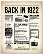 1922 The Year You Were Born vintage newspaper Style birthday party poster canvas gift for people born in 1922 Poster