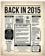 2015 The Year You Were Born vintage newspaper Style birthday party poster canvas gift for people born in 2015 Poster