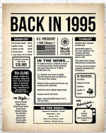1995 The Year You Were Born vintage newspaper Style birthday party poster canvas gift for people born in 1995 Poster
