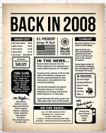 2008 The Year You Were Born vintage newspaper Style birthday party poster canvas gift for people born in 2008 Poster