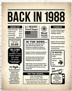 1988 The Year You Were Born vintage newspaper Style birthday party poster canvas gift for people born in 1988 Poster