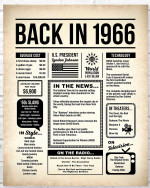 1966 The Year You Were Born vintage newspaper Style birthday party poster canvas gift for people born in 1966 Poster