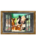 Cow Family On The Farm Window Design Poster Canvas Living Room Decor Gift For Farmer Poster