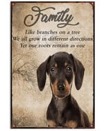 Dachshund Family Like Branches On A Tree We All Grow In Diferrent Directions Poster Canvas Gift For Dog Lovers Poster