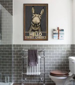 Hello Sweet Cheeks Gray Donkey Poster Canvas Gift For Family Funny Donkey Poster Poster