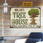 Tree House Where Imaginations Come To Life Personalized Tree House Poster Canvas Gift For Family With Custom Name Poster