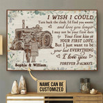 I Wish I Could Turn Back The Clock Personalized Tractor Poster Canvas Gift For Family Old Couple With Custom Name Poster