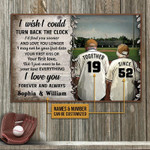 I Wish I Could Turn Back The Clock Personalized Baseball Poster Canvas Gift For Family Old Couple With Custom Name Poster