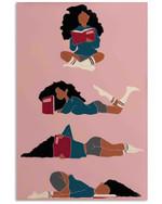 Black Girl Reading Pose Funny Vertical Design Poster Canvas Gift For Books Lovers Poster