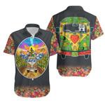 Hippie Van Bus Sunflowers Summer Vacation Travel Holiday T-Shirt Funny Husky Driving Hippie Bus Paisley Pattern Hawaiian Shirt