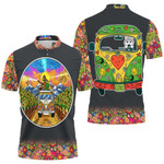 Hippie Van Bus Sunflowers Summer Vacation Travel Holiday T-Shirt Funny Husky Driving Hippie Bus Paisley Pattern Polo shirt