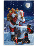 Dachshund On The Roof With Santa Snow Night Moon christmas holiday Gift Poster Canvas For dog lovers dog moms Poster