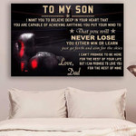 Boxing Dad To Son Never Lose Holidays Son To Son With poster canvas