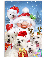 Westies Santa Coming Christmas Gift Snow christmas holiday Gift Poster Canvas For dog lovers dog moms Poster
