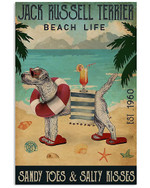 Funny Jack Russell Beach Life Sandy Toes & Salty Kisses Holiday Decoration Poster Canvas Gift For Jack Russell Lovers Dog Lovers Poster