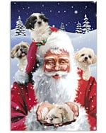 Santa Claus With Four Shihtzus Snow Tree christmas gift Poster Cavas For Christmas Holiday dog lovers dog moms Poster