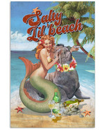 Sally Lil'Beach Holiday With Beautiful Mermaid And Seal Drinking Wine Poster Canvas Gift For Mermaid Lovers Mermaid Enthusiasts Poster