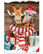 Lovely Giraffe Hello Winter Red Hat Scarf christmas holiday Gift Poster Canvas For Animal Lovers Poster