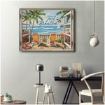 Just breathe holiday blue waves on beautiful beach anniversary decoration poster canvas gift for couple loved one Poster