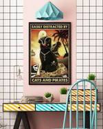 Easily Distracted By Cats & Pirates poster, Black cat poster, Cat Halloween Poster, Wall Decor poster canvas