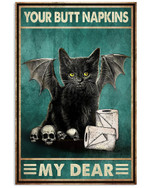Bat Cat Your Nutt Napkins My Dear Poster Canvas Toilet Decor Happy Halloween Day Gift Poster