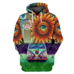 Hippie Sunflower With Colorful Van 3D All Over Printed MT0802-01