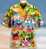 Hello Summer! Happy Pug Hawaiian Shirt AT2804-10