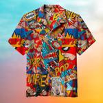 Retro Colorful Female Comic Hawaiian Shirt  AT2505-07