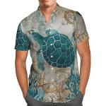 Beach tropical turtle print men's shirt  AT2605-09