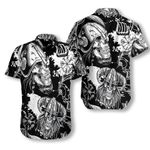 Seamless Pattern Skull In Viking Helmets Hawaiian Shirt  AT1007-09