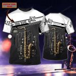 PERSONALIZED NAME SAXOPHONE JAZZ MUSIC 3D T-SHIRT AT2007-05