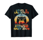Level 11 Unlocked Awesome since 2008-11th Birthday Gamer T-s