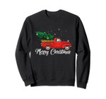 Red Truck Pick Up Christmas Tree Vintage Retro Sweater