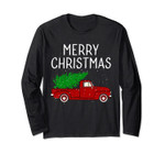 Vintage Red Truck With Merry Christmas Tree Long Sleeve