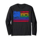 American Rainbow Flag Watercolor Pride Long Sleeve Tee