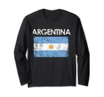 Vintage Argentina Argentinian Flag Pride Long Sleeve