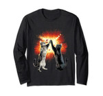 High-Five Cats Explosion Meme Graphic Long Sleeve Tee