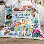 Surfing Makes Me Happy Sofa Throw Blanket